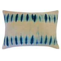 Vivai Home Turquoise Blinds Tie Dye Pattern 14x 12 Cotton Feather Pillow - Blue