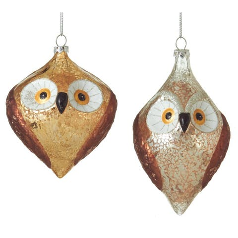 Brown Gold and Silver Pair of Wise Owls Holiday Ornaments Set of 2 Midwest CBK