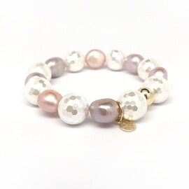 Ivory & Pink Baroque Pearl 'Grace' stretch bracelet 14k Over Sterling Silver