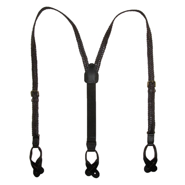 CTM® Leather Button-End 3/4 Inch Braided Suspenders
