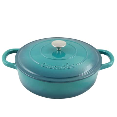 Artisan 5 Qt Braiser Pan W/Lid - Round - Teal Ombre - Enameled - Cast Iron