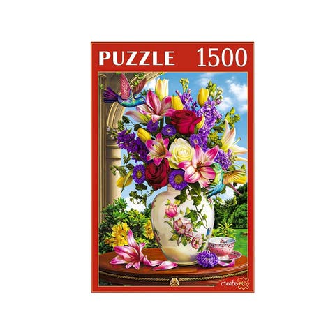 Flowers and Hummingbirds 1500 Piece. Jigsaw Puzzle for Kids & Adults