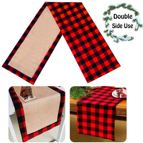 Christmas Large Table Runner Burlap & Cotton Red Black Plaid Reversible Buffalo Check Table Runner 14 x 108 Inch
