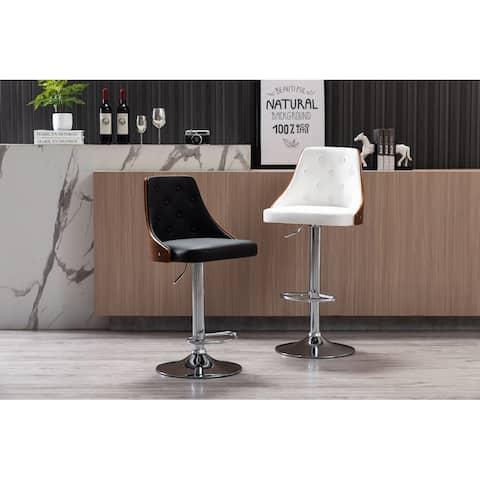 Porthos Home Trey Bar Stool, PU Leather, Chrome Base