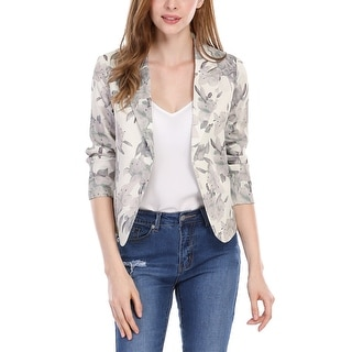 Link to Unique Bargains Women Contrast Lining Open Front Floral Print Blazer Similar Items in Suits & Suit Separates