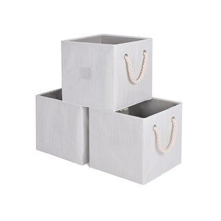 StorageWorks Foldable Storage Cube Bin with Rope Handle, 3-Pack, White