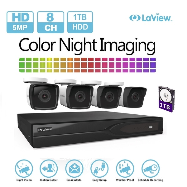 LaView 8-Channel 5MP HD-TVI 1TB HDD Surveillance DVR with (4) 5MP Bullet Cameras With Color Night Imaging