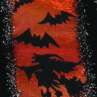"""Metallic Sheer Black and Orange Halloween Witches and Bats Wired Craft Ribbon 2.5"""" x 20 Yards"""