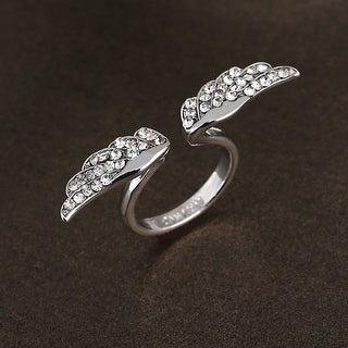 Adjustable Vintage Angel Wing Silver Plated Crystal Rhinestone Fashion Charming Design Ring for Lovers