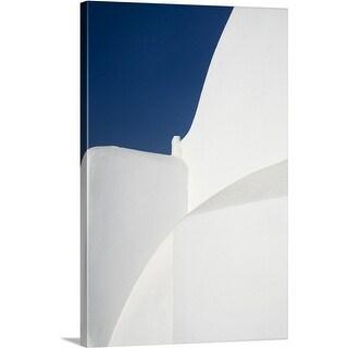 Premium Thick-Wrap Canvas entitled Pure white church against blue sky on greek island of Paros