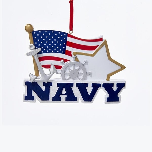 Pack Of 12 Navy With American Flag And Star Christmas Ornaments For Personalization 4 5 Blue