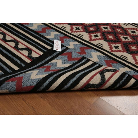 "Hand-Woven Southwestern Tribal Design Red, Dhurry Kilim Reversible Wool Tribal Oriental Area Rug (4x6) - 4'1"" x 6'2"""