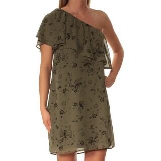 KENSIE $79 Womens New 1294 Green Floral Asymetrical Neckline Shift Dress XS B+B