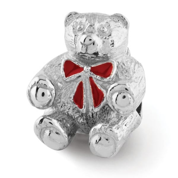 Sterling Silver Reflections Bear w/Enameled Bow Bead (4mm Diameter Hole)