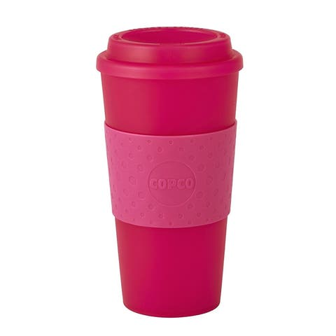 Copco 2510-0410 Acadia Double Wall Insulated Travel Mug with Non-Slip Sleeve, 16-Ounce, Translucent Pink
