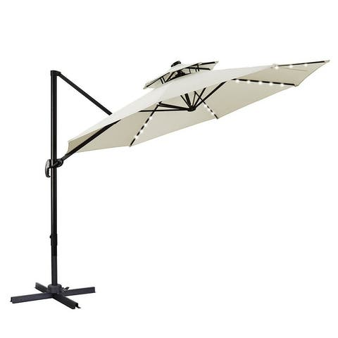 Zenova 360 Rotation Outdoor Parasol umbrella 11Ft balcony outdoor Roman umbrella