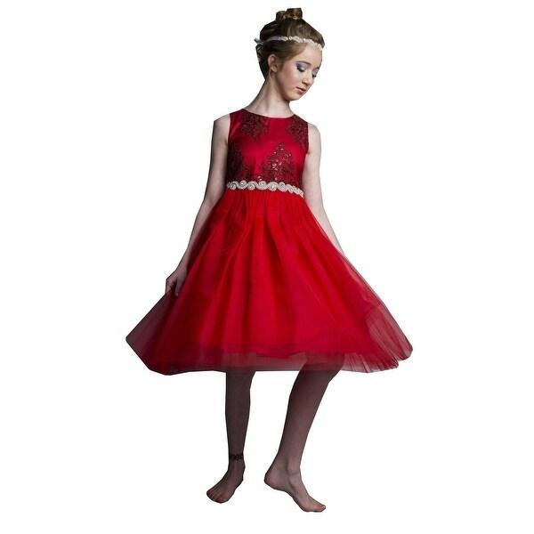e17811c0c6382 Shop Little Girls Red Silk Rhinestone Belt Tulle Christmas Dress ...