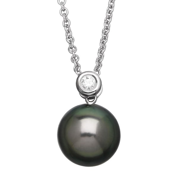Honora Tahitian Freshwater Cultured Pearl Pendant with Diamond in Sterling Silver - Grey