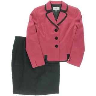 Le Suit Womens Colorblock Twill Skirt Suit - 8
