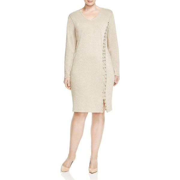 Calvin Klein Womens Plus Sweaterdress Metallic Long Sleeves