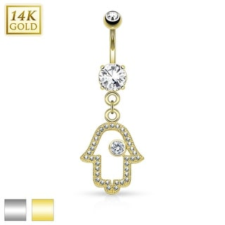 14Kt Gold Hamsa Dangle with Micro Pave CZ Belly Button Navel Ring - 14GA (Sold Ind.)
