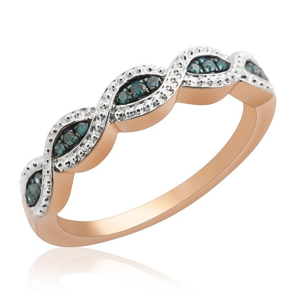 Prism Jewel 0.10Ct Round Blue Color Diamond Wedding Band