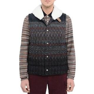 Missoni Mens Shearling Collar Reversible Goose Down Vest Large Gilet Waistcoat