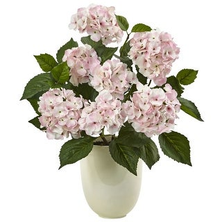 Nearly Natural Hydrangea with White Planter