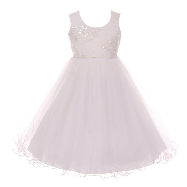 b1a78faebd Shanil Little Girls White Mesh Embroidered Wired Tulle Flower Girl Dress