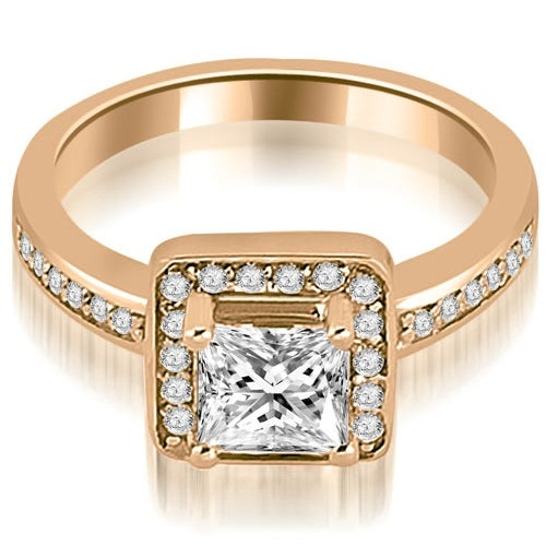 0.80 cttw. 14K Rose Gold Halo Princess and Round Cut Diamond Engagement Ring