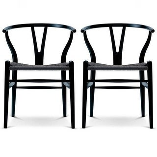 Link to 2xhome Set of 2 Woven Wood Armchair with Arms Open Y Back Office Dining Chairs Woven Black Seat For Kitchen Work Restaurant Similar Items in Dining Room & Bar Furniture