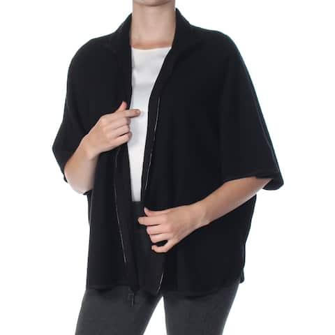 ANNE KLEIN Womens Black Zippered Short Sleeve Sweater Size: S
