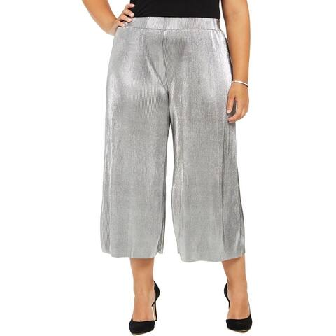 MICHAEL Michael Kors Womens Plus Pants Metallic Pleated - Silver