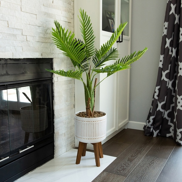 Areca Palm 4FT Planter on Wood Stand - ONE-SIZE. Opens flyout.