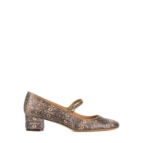 Salvatore Ferragamo Womens Brown Leather Mady Snake Embossed Pumps US10~RTL$687