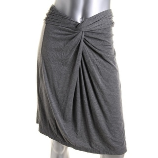 Studio M Womens Heathered Knot-Front A-Line Skirt - L
