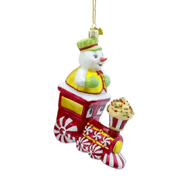 """5"""" Noble Gems Blown Glass Snowman Conductor on Train Christmas Ornament"""