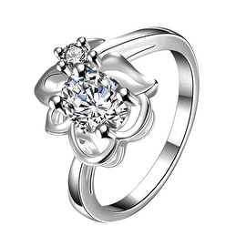 Classic Crystal Floral Stud Petite Ring