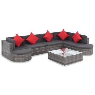 "vidaXL 8 Piece Garden Lounge Set with Cushions Poly Rattan Gray - 29.1"" x 29.1"" x 11.8"""