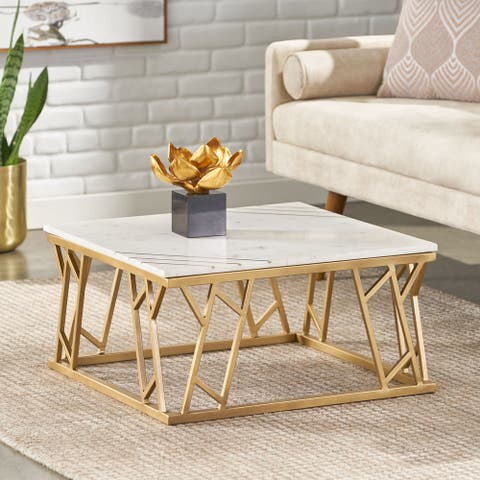 Motson Modern Glam Handcrafted Marble Top Coffee Table with Brass Inlay by Christopher Knight Home