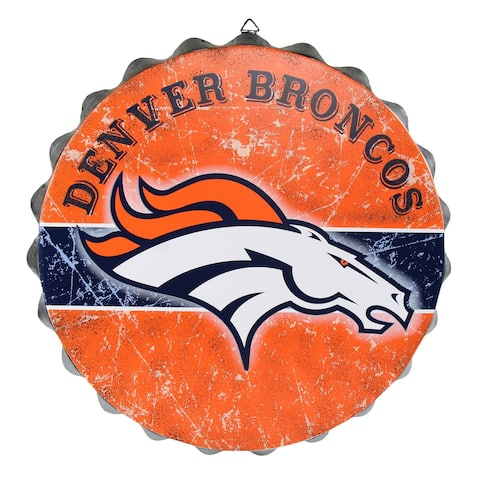 FOCO NFL Distressed Metal Bottle Cap Sign, Denver Broncos - Multi-Color