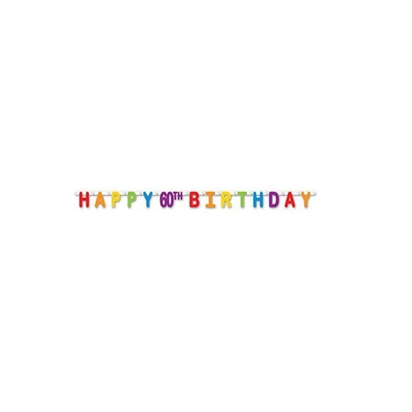 Pack Of 12 Colorful Jointed Happy 60th Birthday Banner Hanging Party Decorations 66