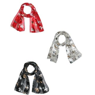 CTM® Womens Satin Scarves with Dog Breeds (Pack of 3) - Multi - One size