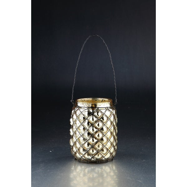 """6"""" Metallic Weathered Hand Blown Glass Votive Candle Holder with Crossed Wire Accent - N/A"""