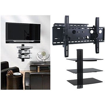 2xhome - NEW TV Wall Mount Bracket (Single Arm) & Triple Shelf Package - Secure Cantilever LED LCD Plasma Smart 3D WiFi