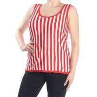 ANNE KLEIN Womens Red Tank Striped Sleeveless Scoop Neck Top  Size: XL