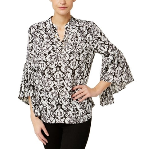 NY Collection White Women's Size Medium M Floral Studded Blouse