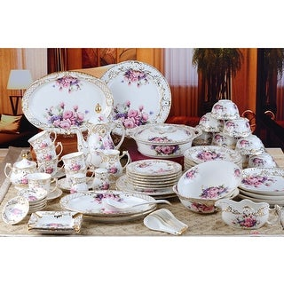 Luxury Design fine bone china 60 pc dinnerware purple pink floral hand made gold etching lovely for wedding!