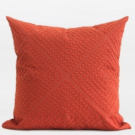 "G Home Collection Luxury Tangerine Diamond Embroidered Pillow 18""X18"""