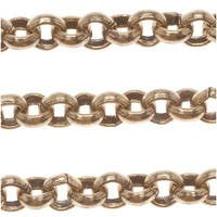 Antiqued Copper Plated Round Rolo Chain 3.5mm Bulk By The Foot